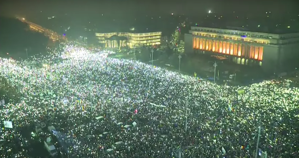 Bucharest's Victory Square during protests on February 5th (image: Youtube)