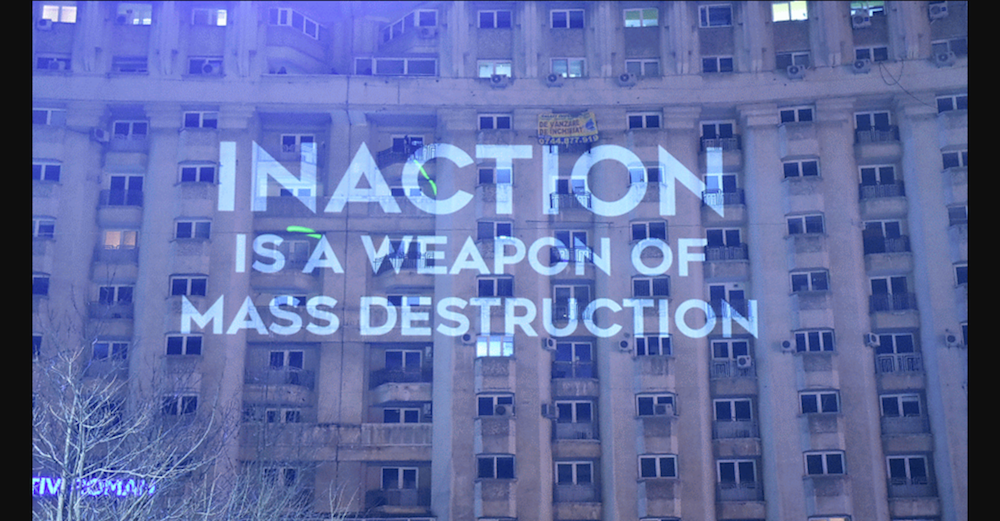 Video projection onto a building in Bucharest (image: Youtube)