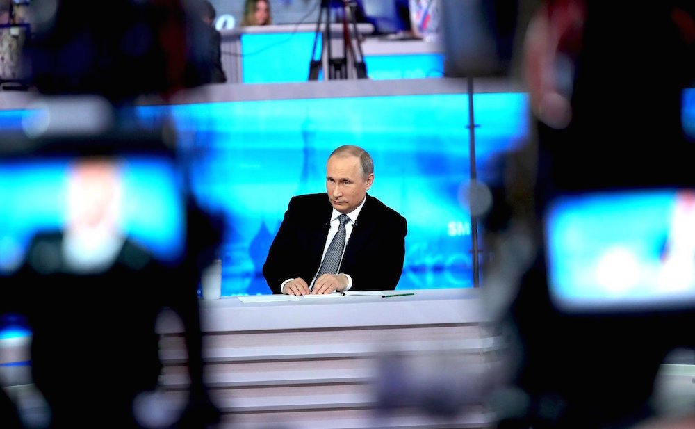 Vladimir Putin on Russian TV during his annual press conference, Direct Line with Putin (image: kremlin.ru)