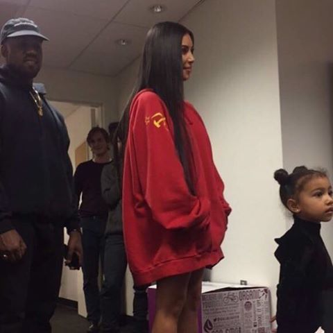 Kim Kardashian wears the hammer and sickle hoodie to a performance of The Nutcracker last month. Image: Instagram/svmoscow