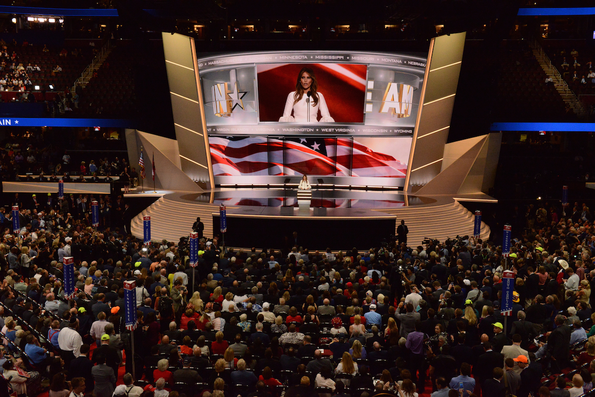 Donald and Melania Trump at the 2016 Republican National Convention in Cleveland. Image: Disney / ABC Television Group under a CC licence