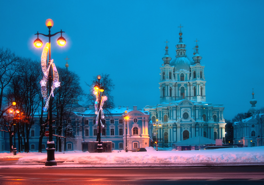 The Smolny cathedral at night (Oleg Kovalenko under a CC licence)