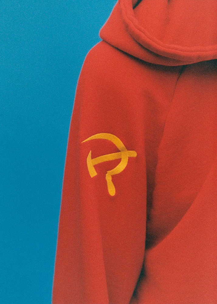 Hammer and sickle limited edition hoodie by Vetements/SV Moscow, November 2016