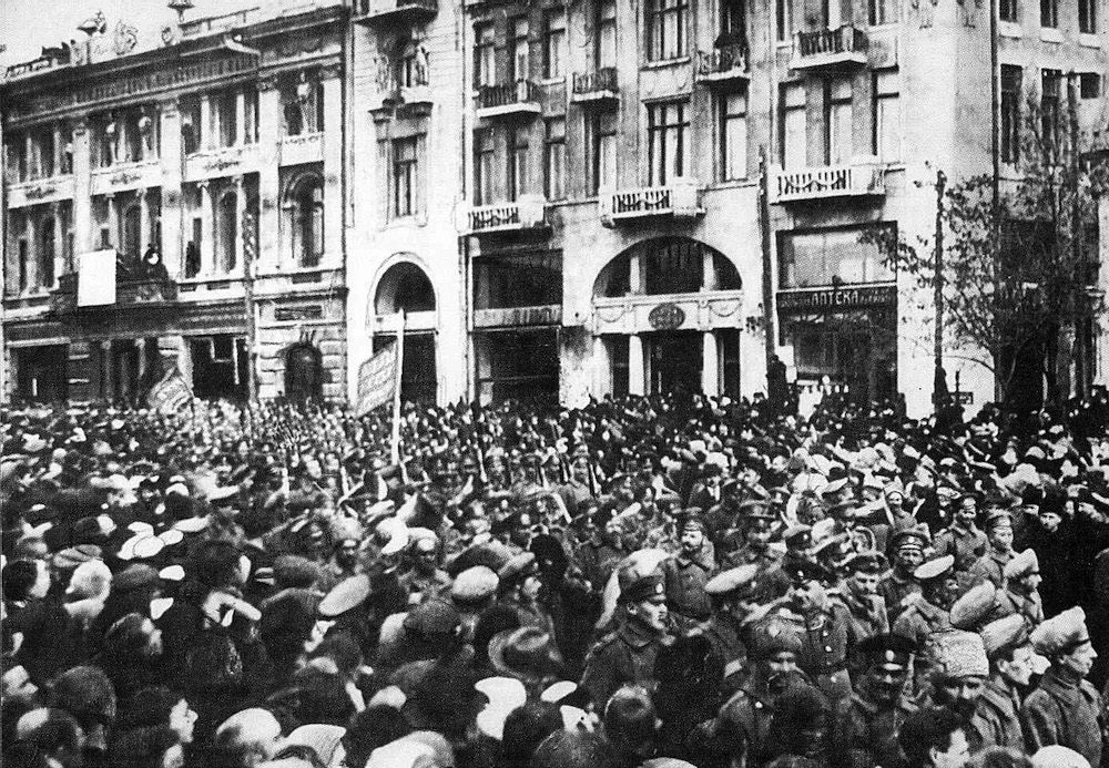A demonstration in support of the February Revolution of 1917 in central Kharkiv