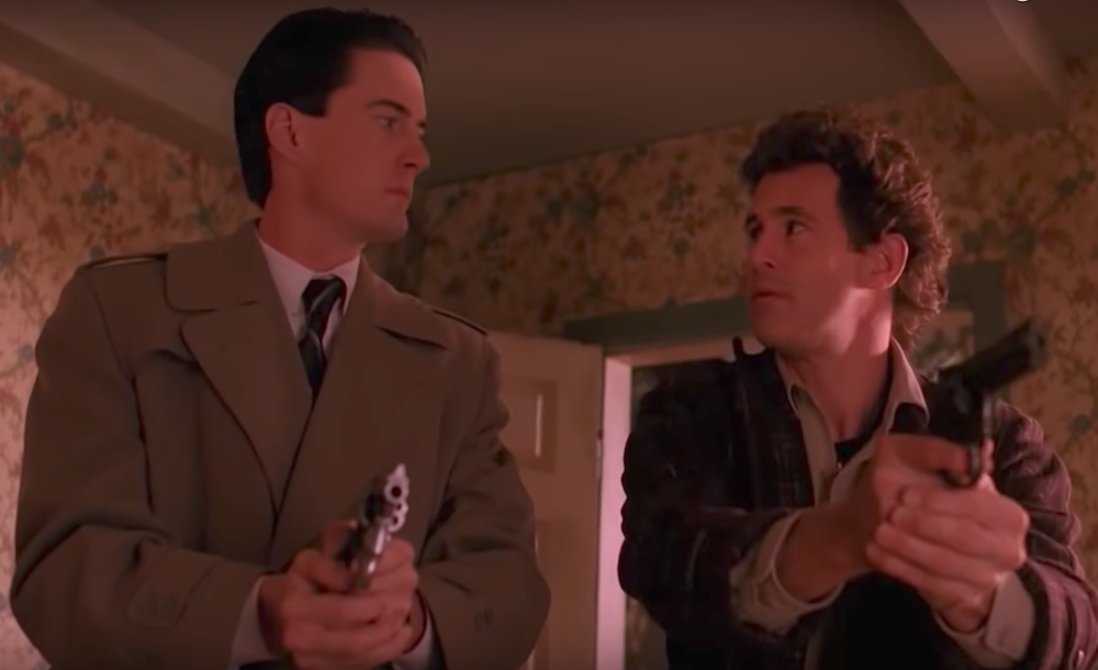 Kyle MacLachlan as Special Agent Dale Cooper and Michael Ontkean as Sheriff Harry S. Truman in <em>Twin Peaks</em>. Image: Youtube