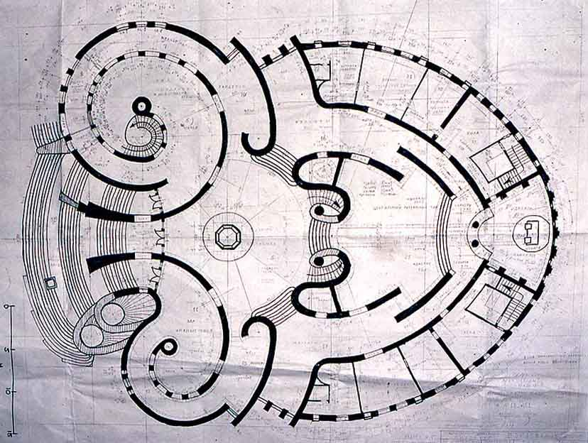The Wedding Palace's floor plan is based on the anatomical cross-section of a female abdomen. Jorbenadze's mother was a gynaecologist.