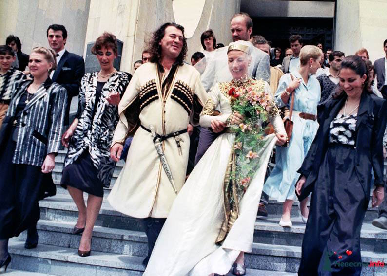 Deep Purple's Ian Gillan, wearing traditional Georgian attire, ties the knot at the Wedding Palace, 1990