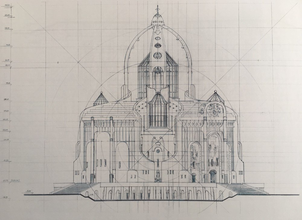 Jorbenadze's plan for the Cathedral of All the Faiths. Image courtesy of Irakli Kovzanadze