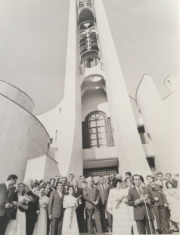 Eduard Shevardnadze, silver haired in the centre, opens the Wedding Palace at Tbilisoba 1984. Image courtesy of Irakli Kovzanadze