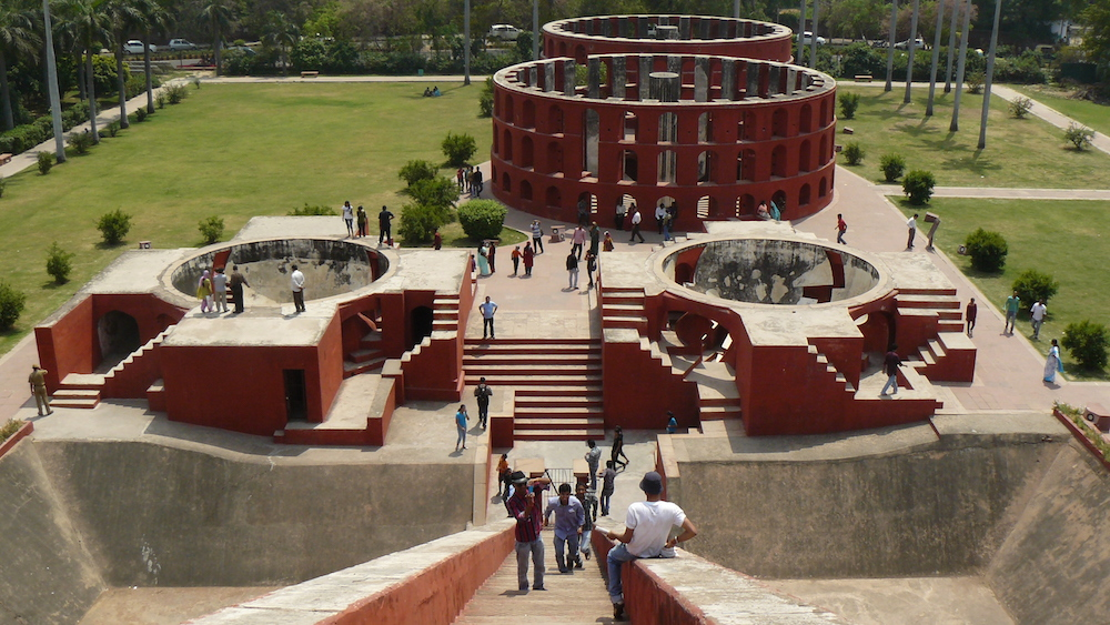 Jorbenadze visited Jantar Mantar, a surprisingly 'postmodern' observatory constructed in 1724 in New Delhi. He kept a postcard of it in his study.  Image: Dinesh Bareja under a CC licence