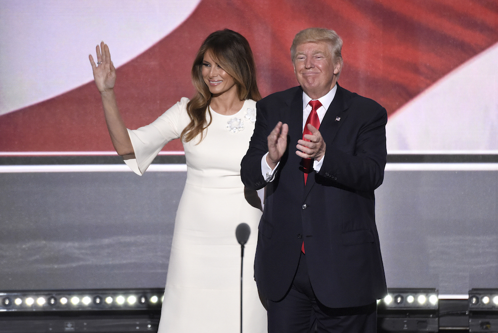 Melania Trump with her husband at the Republican National Congress in 2016 (image: Disney - ABC Television Group under a CC licence)