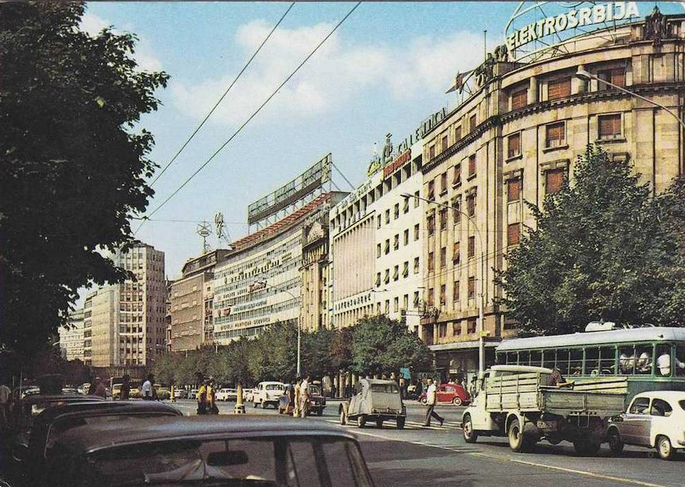 Yugoslav-era postcard showing Belgrade in the 1970s. Image: MATC2010 under a CC licence.