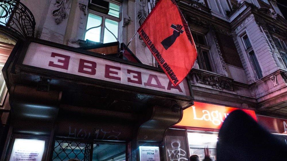 Zvezda cinema under occupation, 2014. The banner reads: