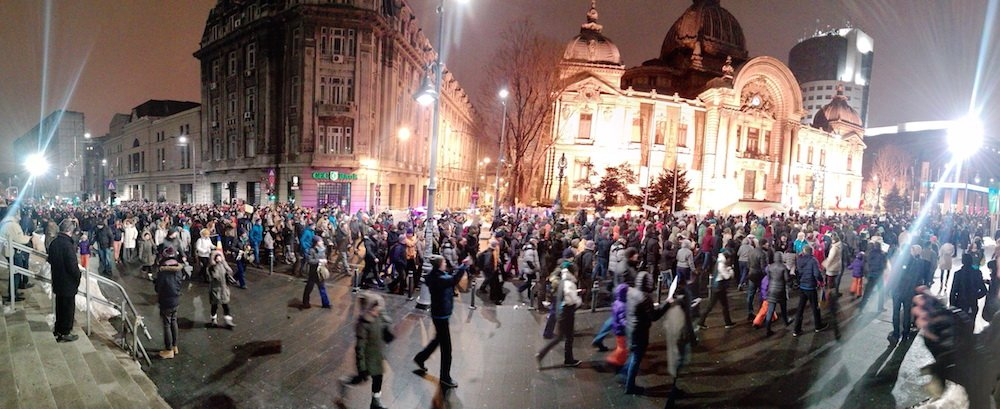 Protests in Bucharest on 29 January. Image: Babu under a CC licence