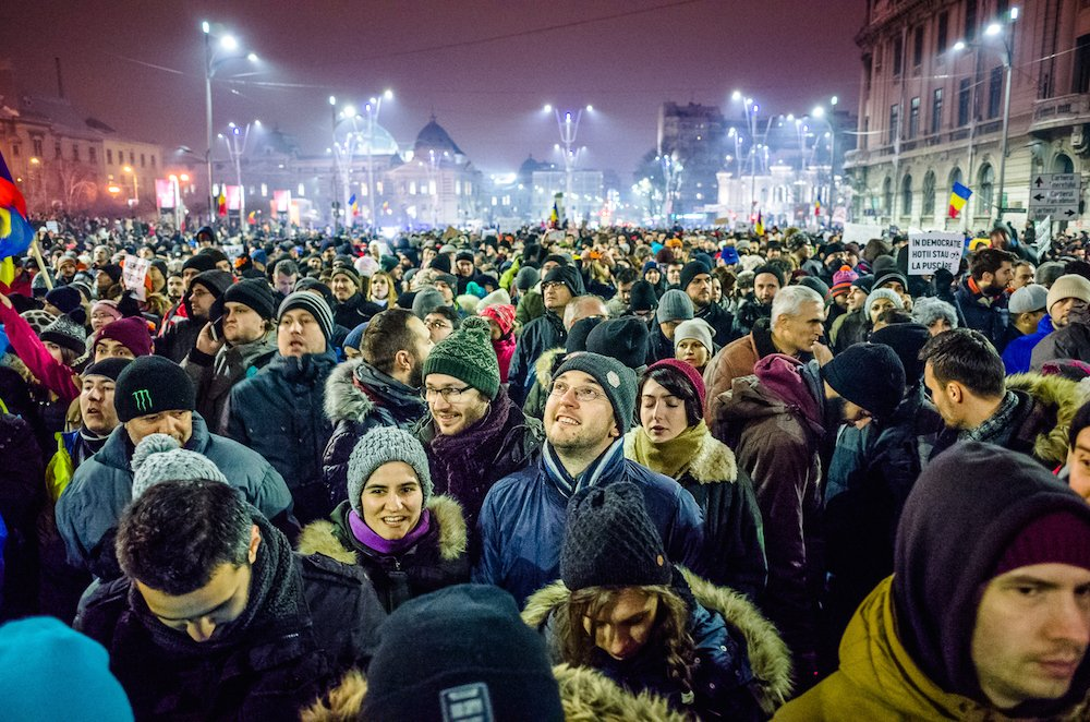 Protesters on Bucharest's University Square. Image: Mihai Petre under a CC licence