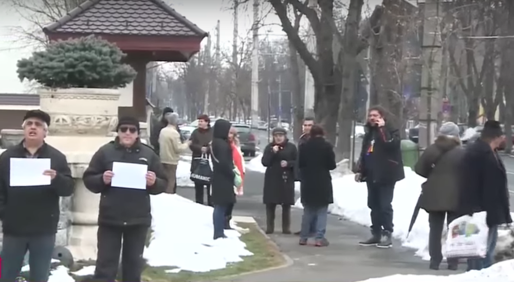 A poor turnout for a pro-government counter-protest at Cotroceni Palace. Image: Youtube