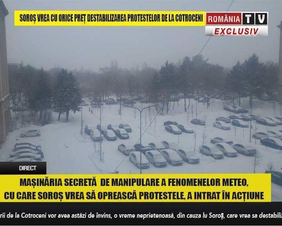 Screenshot from a news broadcast on Romania TV, accusing George Soros of creating an artificial snowstorm to prevent pro-government protests