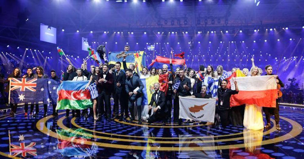 Winners of this year's first semi-final celebrate onstage in Kiev. Image: Eurovision Song Contest/Facebook