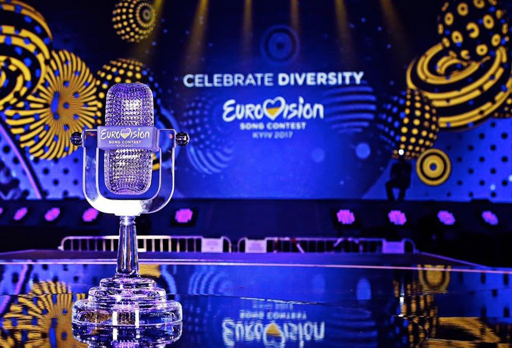 The Eurovision Song Contest trophy onstage in Kiev. 25 nations will be battling for the prize in Saturday's final. Image: Eurovision Song Contest/Facebook