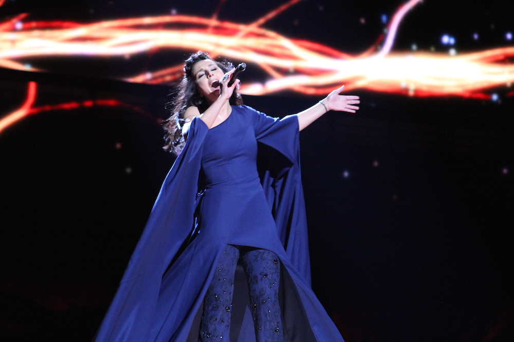 Jamala performing <em>1944</em> at the 2016 Eurovision Song Contest. Image: Eurovisionary under a CC licence