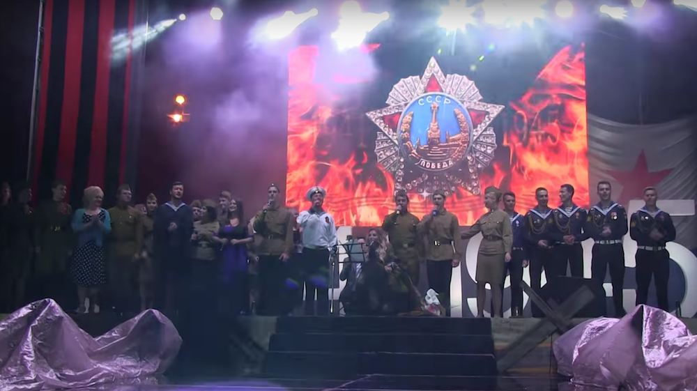Yulia Samoylova performs on Victory Day (9 May) in Sevastopol, on the annexed Crimean peninsula. Image: Webuvision/Youtube