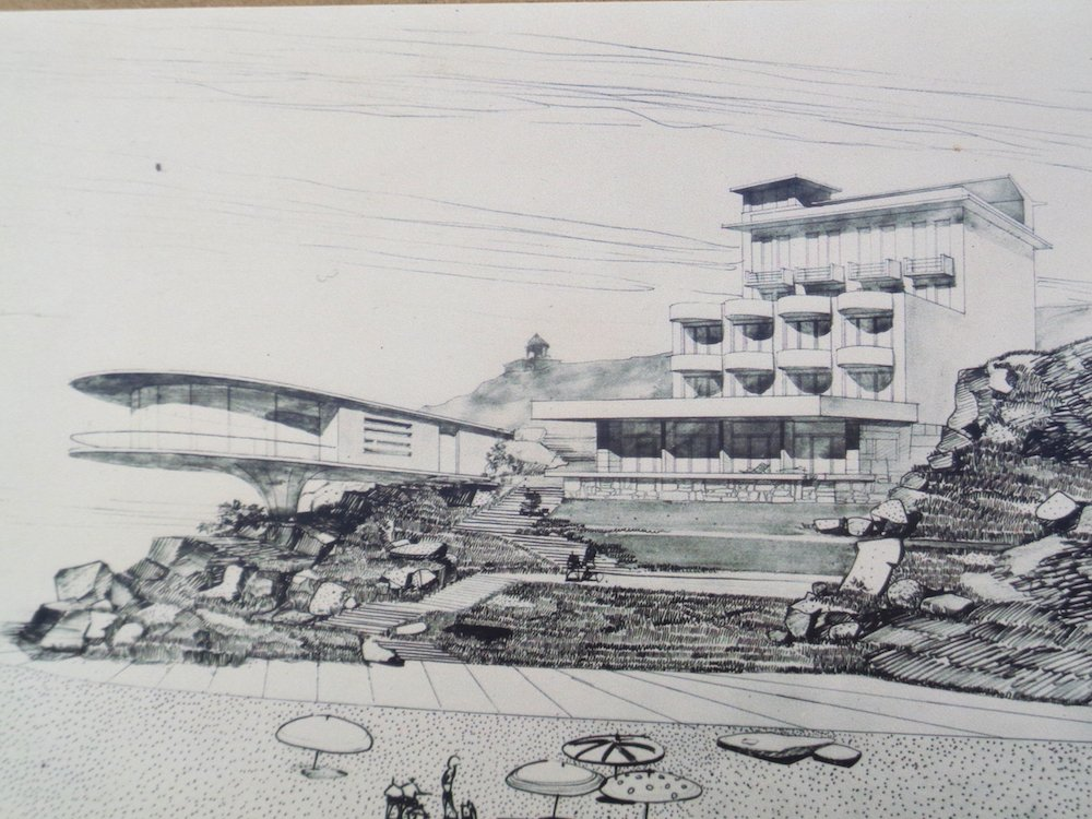 Gevorg Kochar's drawing of the Sevan Writers' Resort from the early 1960s, currently on display at the Resort. Image: Owen Hatherley