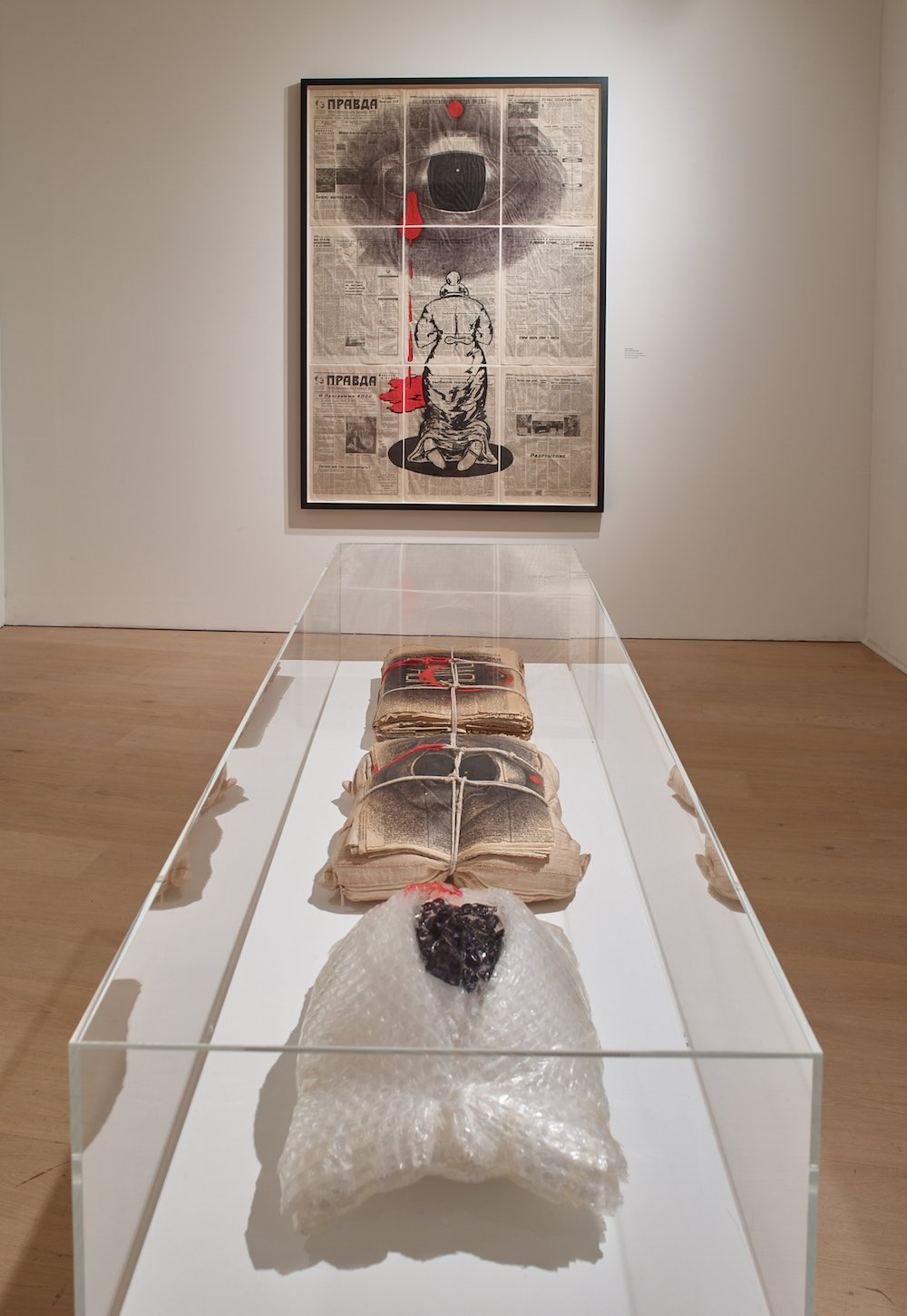 <em>Pack</em>(1992), <em>The Pillow and the Eye</em> (1992)  and <em>The Eye</em> on display at Calvert 22 Space. Image: Stephen White