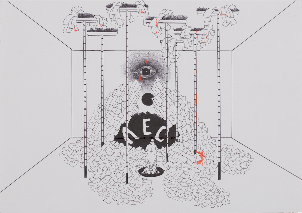 "A sketch from Prigov's ""phantom installation"" series <em>Cleaning Woman and Angels</em> (1990s). Image: Prigov Estate"
