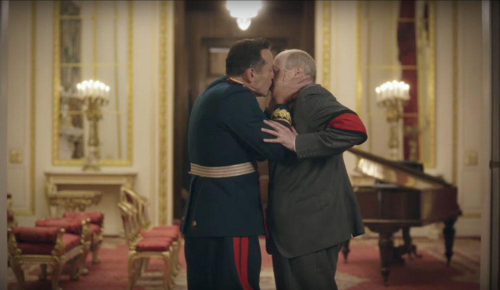 Jason Isaacs as Marshal Zhukov with Buscemi's Khrushchev