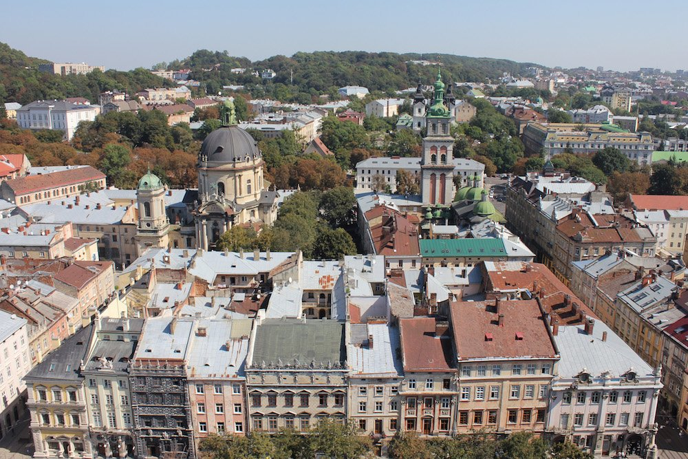 View over central Lviv from the City Hall