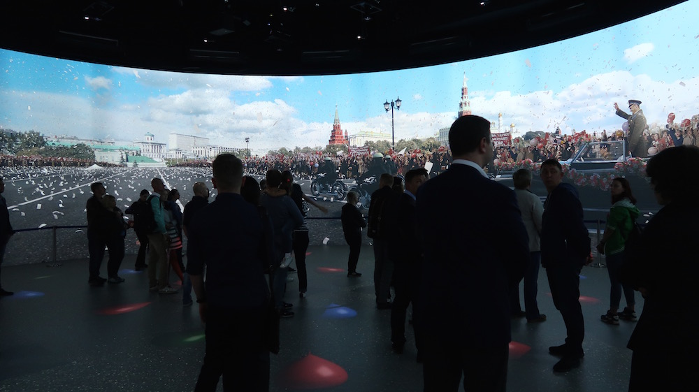 A patriotic display about the history of Moscow in the park's Media Centre. Image: Michał Murawski