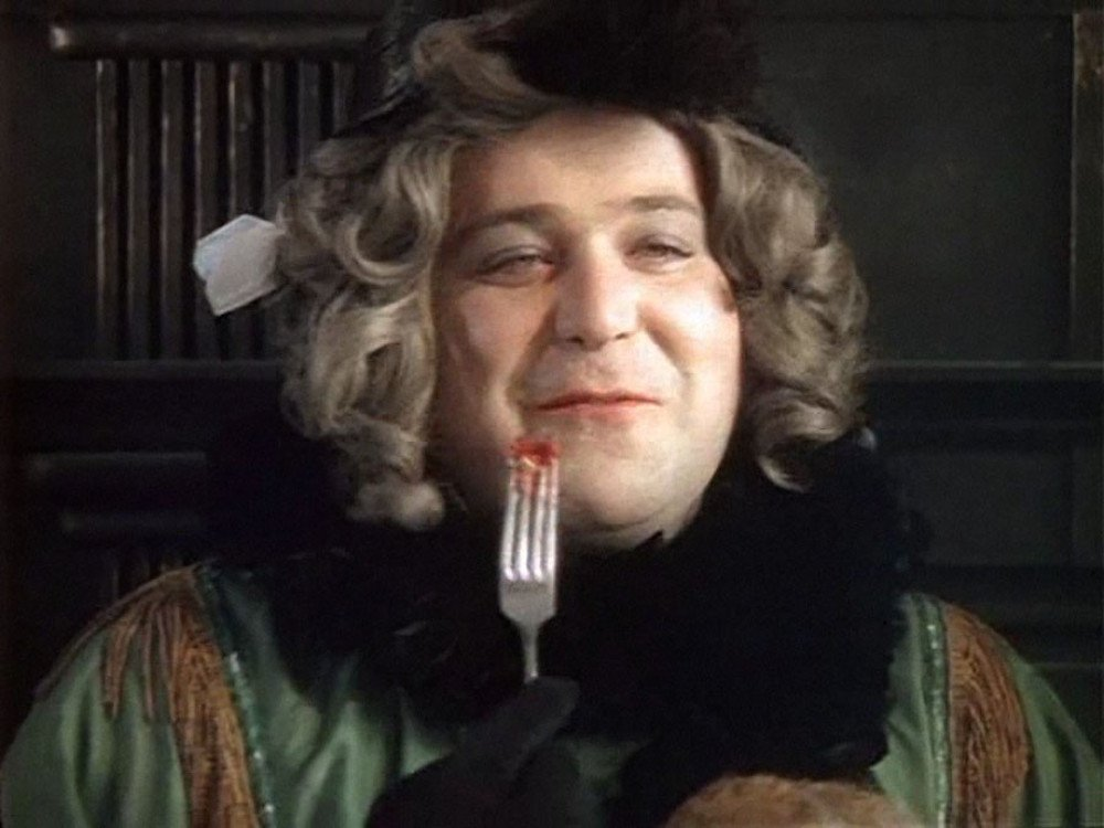"Aleksandr Kalyagin as ""Rosa D'Alvadoretz"" in <em>Hello, I'm Your Aunt!</em> (dir. Viktor Titov, 1974)"