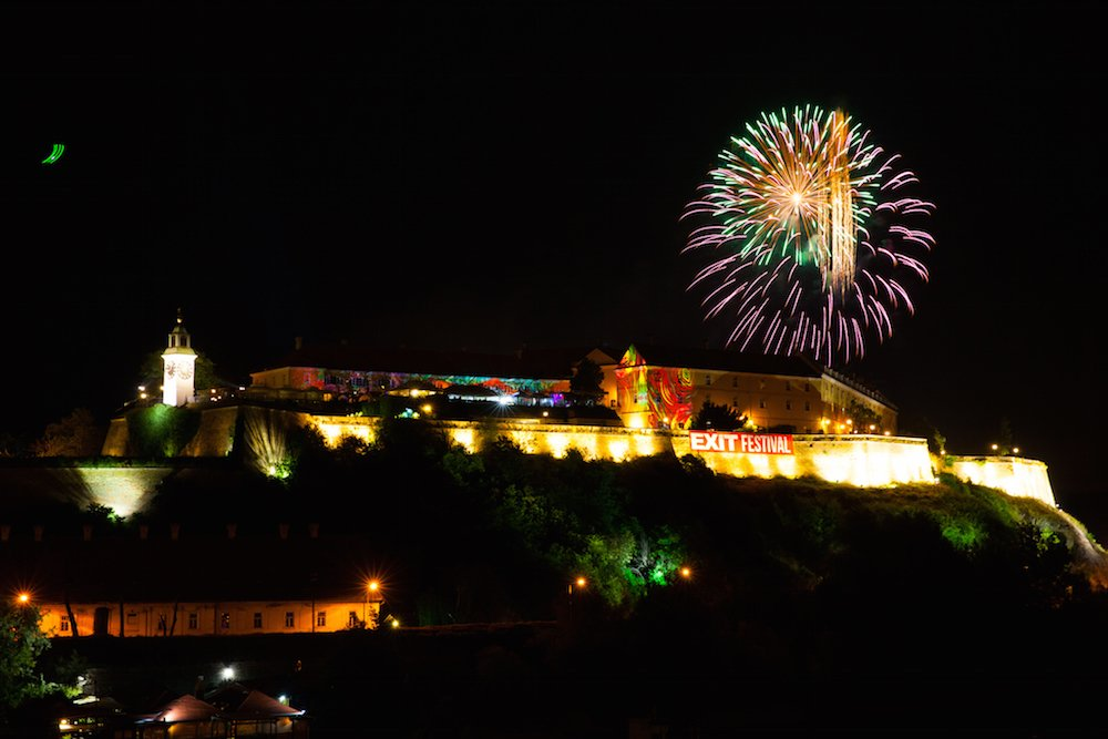 Fireworks over the Petrovaradin Fortress at Exit Festival in 2015. Image: Aleksandar Kamasi, Exit photo team under a CC licence