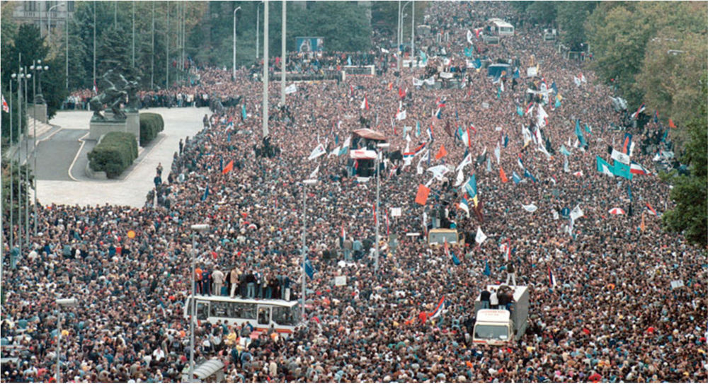 Mass demonstrations in Belgrade on 5 October 2000 shortly after the first iteration of Exit.