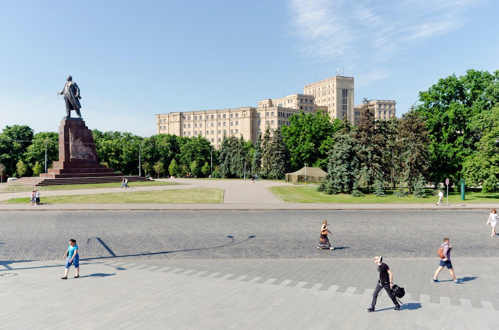 The Lenin statue that previously occupied Freedom Square was the largest in Ukraine. Image: Oleksandr Burlaka under a CC licence