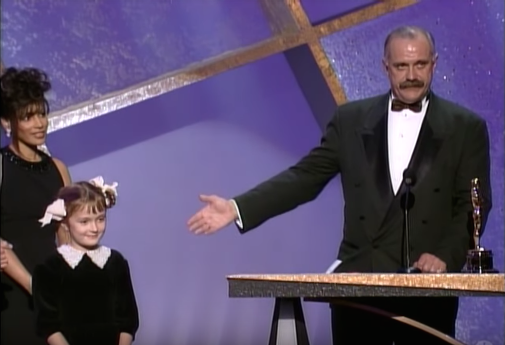 Nikita Mikhalkov brings his daughter onstage as he accepts his 1994 Oscar for Best Foreign Language Film