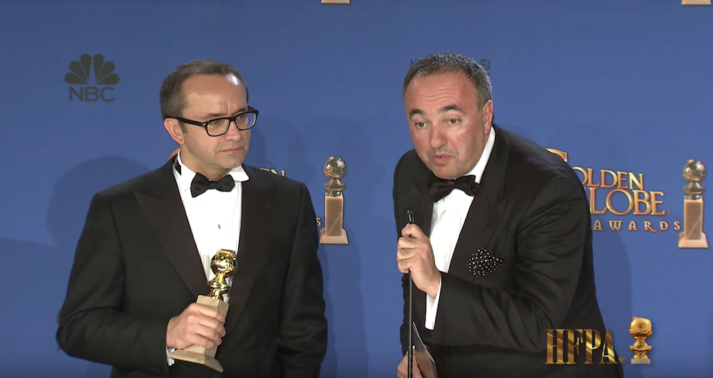 Andrey Zvyagintsev and his producer Alexander Rodyansky with their 2015 Golden Globe for Best Foreign Language Film for <em>Leviathan</em>
