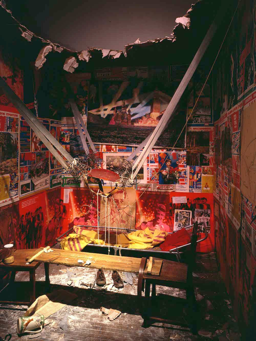 <em>The Man Who Flew Into Space From His Apartment</em>, 1985, by Ilya Kabakov