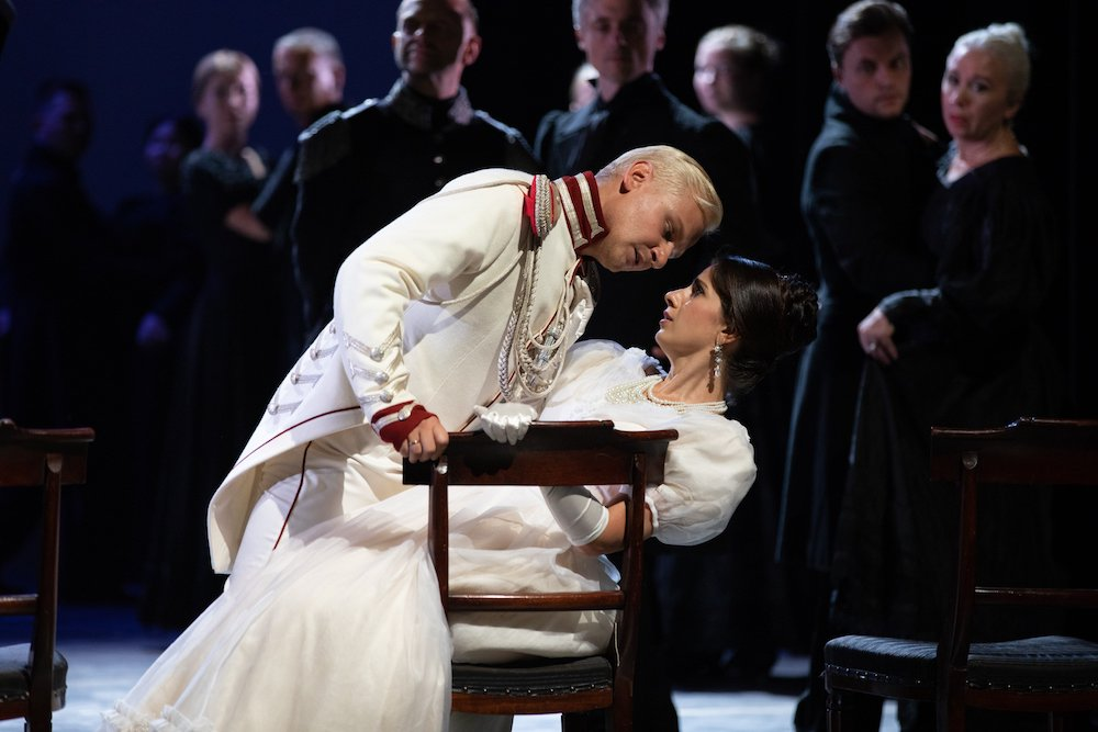 Georges D'Anthès (Anton Bochkaryov) and Natalya ( Julietta Avanesyan). Image: Richard Lewisohn
