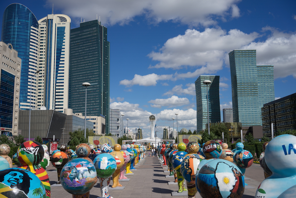Public art on Astana's Nurzhol Boulevard during 2017's festival of contemporary art and Expo. Image: Samuel Goff