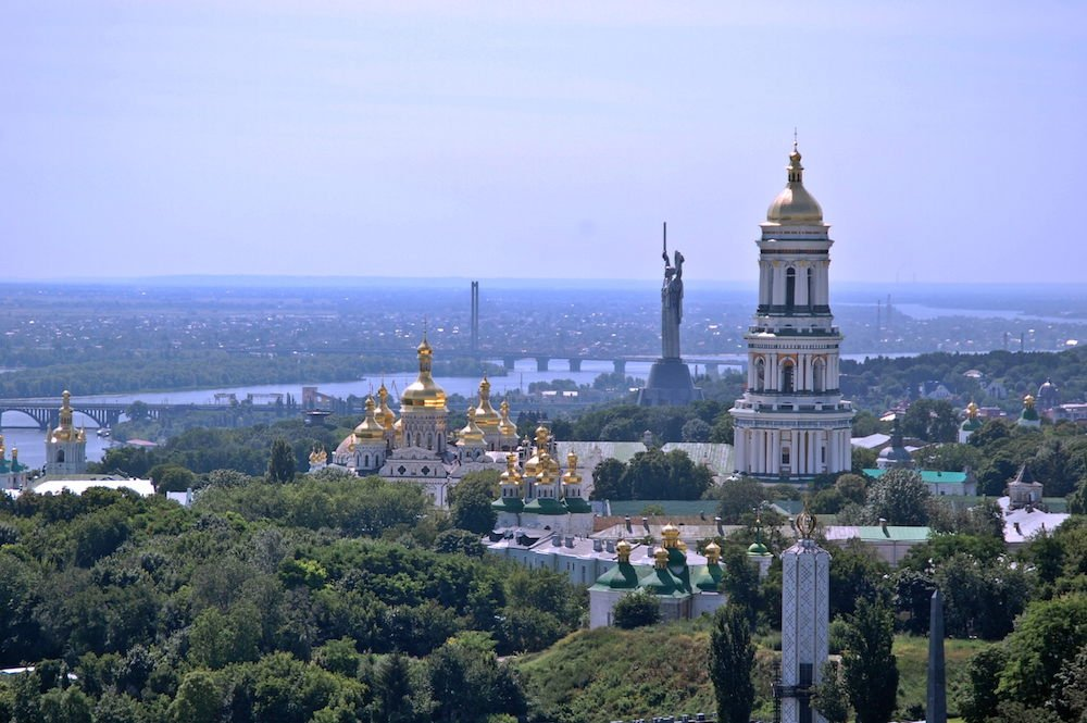 The Rodina-Mat statue overlooking Kiev. Image: Andriy155 under a CC licence