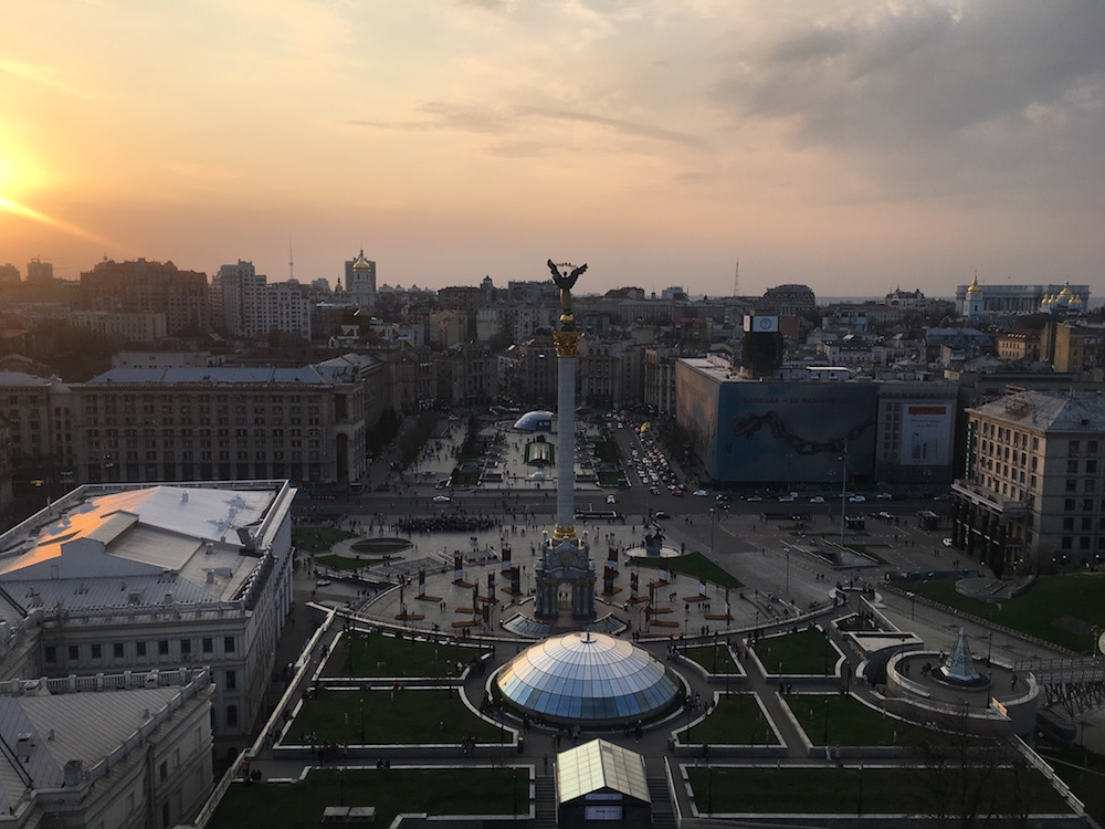 The view onto Maidan Nezalezhnosti from Hotel Ukraine. Image: Sasha Raspopina