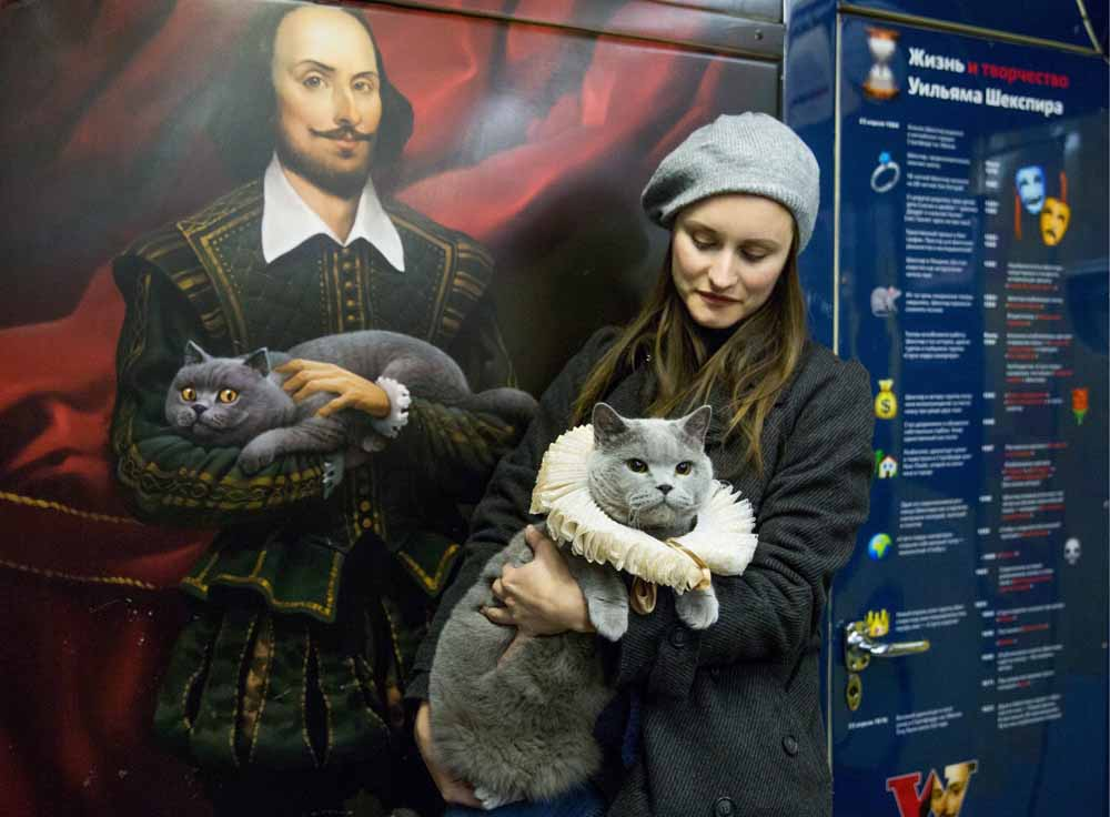 Special feline guest at the the Shakespearean Passions Train launch in 2016. Image: TASS / Valeriy Belobeev