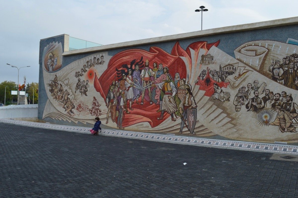 Mural on Skanderbeg Square. Image: Elise Morton