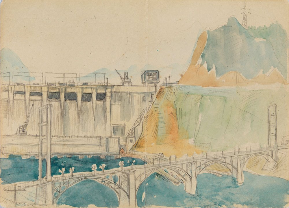 Lin Fengmian, <em>Dam Site</em> (1950s) (M.K. Lau Collection)