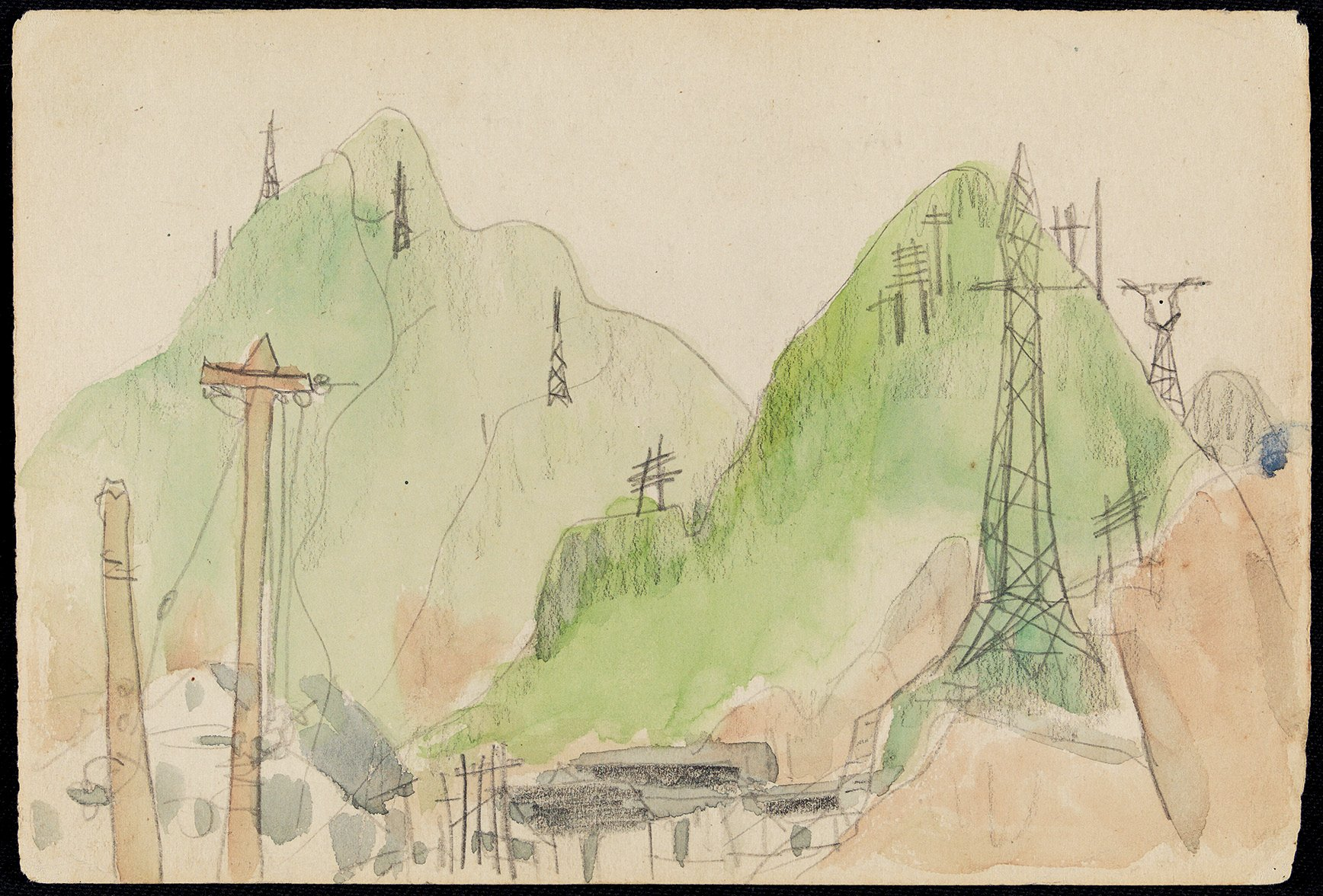 Lin Fengmian, <em>Village Construction</em> (1950s) (M.K. Lau Collection)