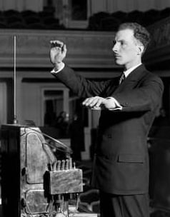 Léon Theremin playing the Theremin
