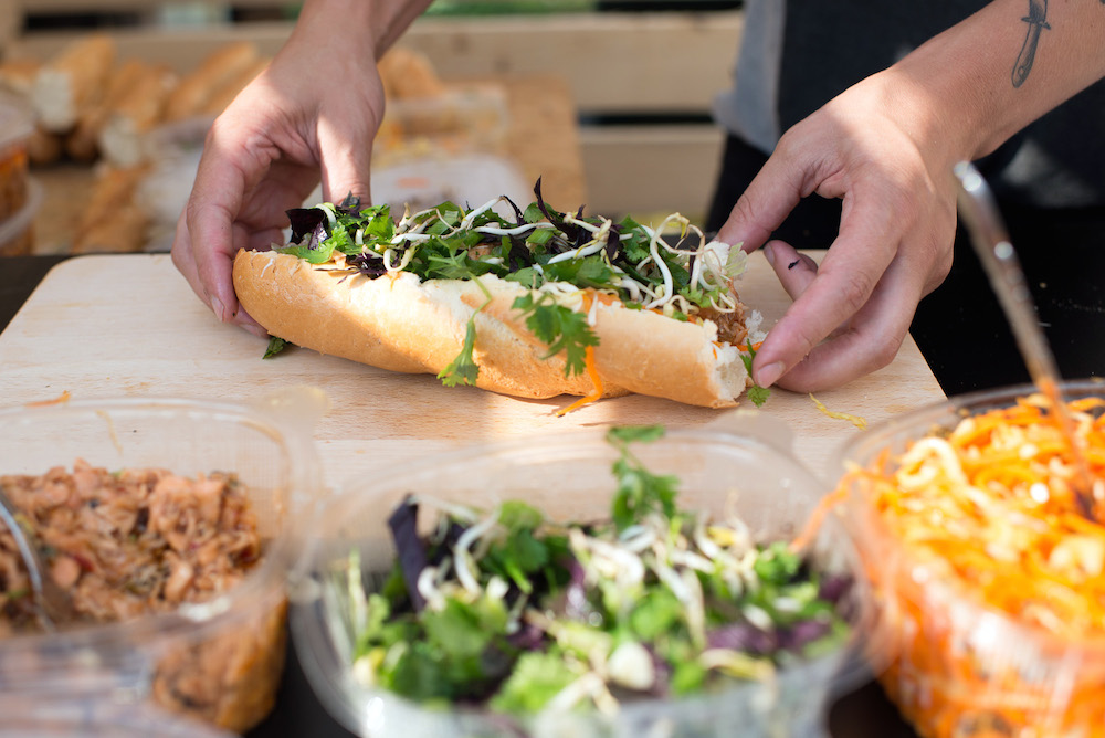 A Vietnamese baguette made using locally sourced ingredients