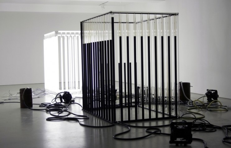 Crude expression artist andrei molodkin uses oil to talk for Minimal art installation