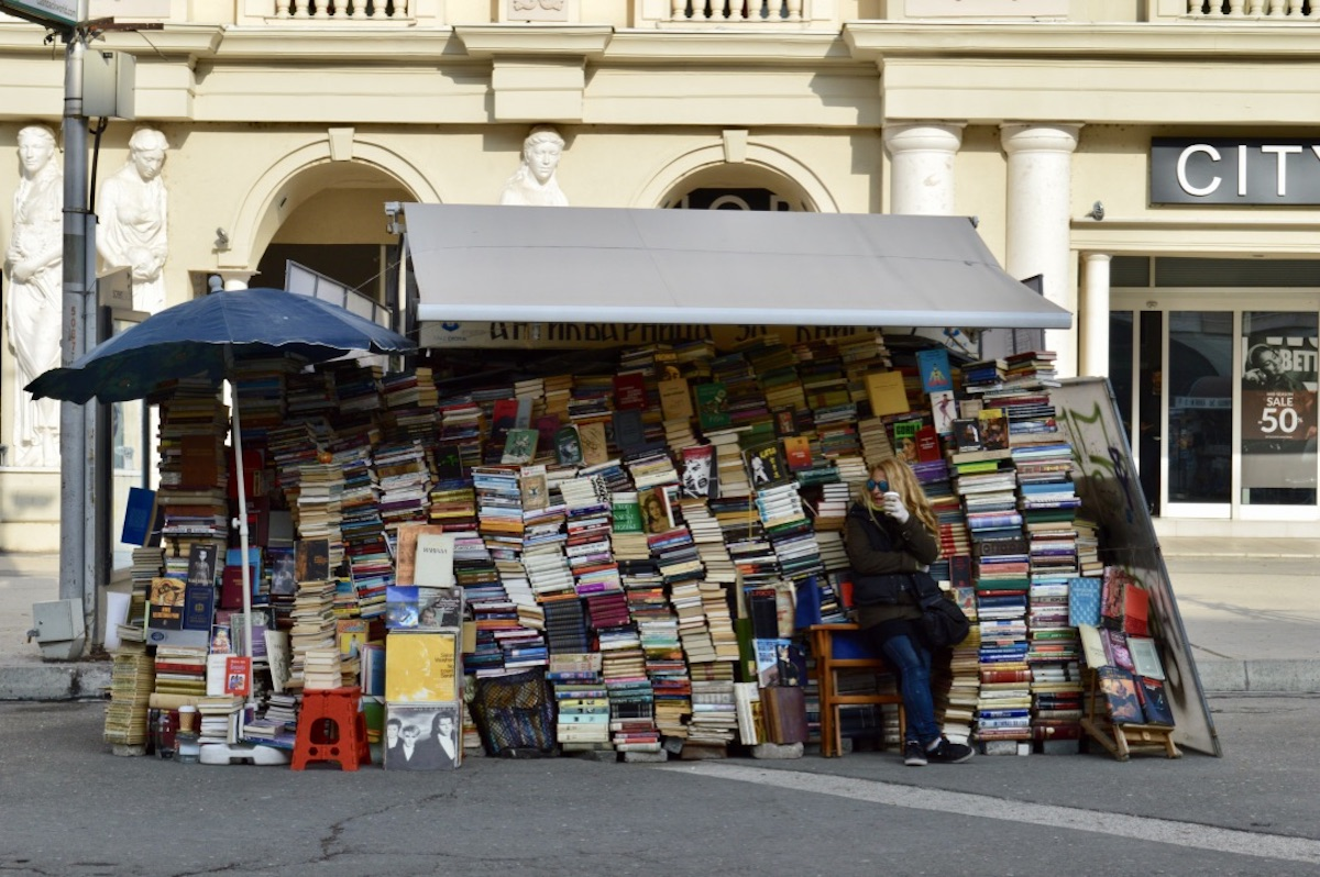 A bookseller on Macedonia Sqaure. Image: Elise Morton